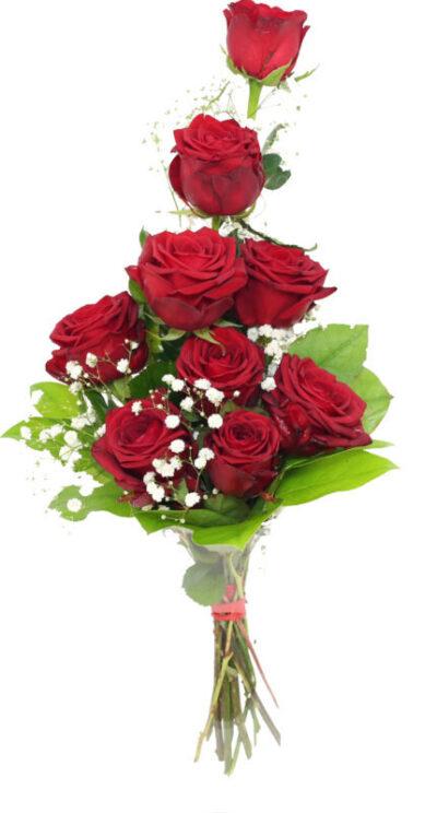 bukiet 9 róż czerwonych, z kwiaciarni online dostarczone pocztą florystyczną za 0 zł
