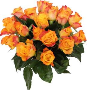 pomarańczowymi bukietami róż