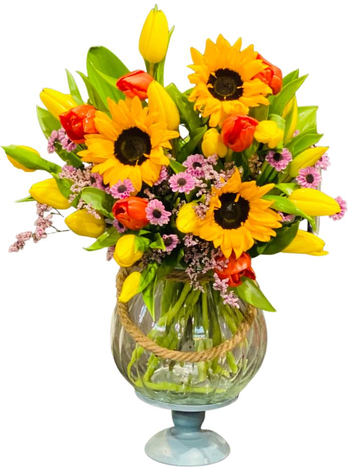 kwiaciarnia online Bytom Bukiet ze słoneczników i tulipanów na urodziny l