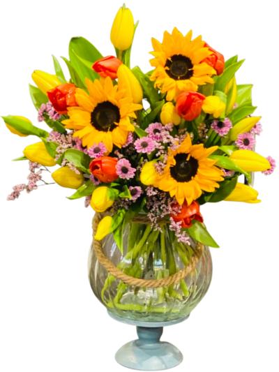 kwiaciarnia online Bukiet ze słoneczników i tulipanów na urodziny l