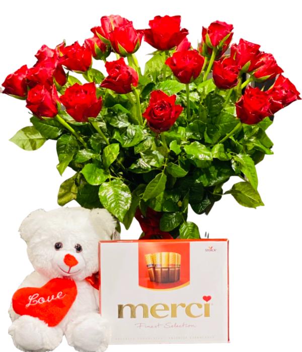 Wyślij Bukiet Róż plus miś kwiaciarnia internetowa Wrocław