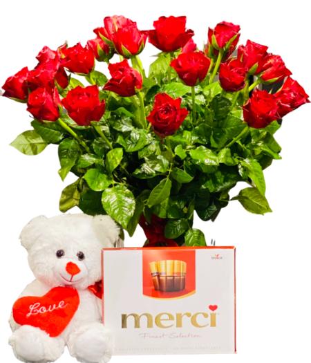 wyślij bukiet róż czerwonych plus miśinternetowa Wrocław