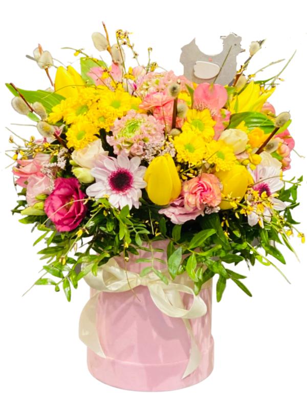 flower box świąteczny stroik wielkanocny prześlij pocztą kwiaciarnia Warszawa