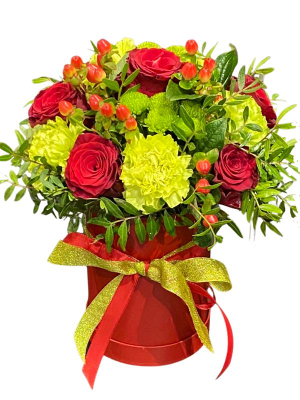 kwiaty w pudełku, kwiaciarnia internetowa Szczecin, pocztowa wysyłka kwiatów do