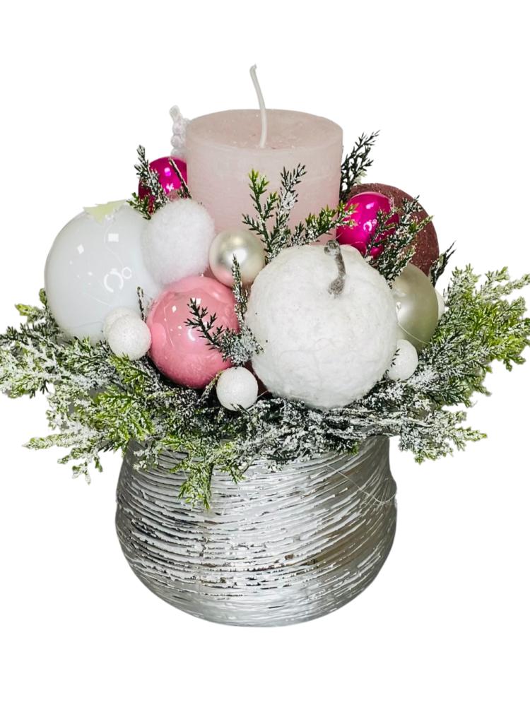 stroik świąteczny różowy kwarc, dekoracje na święta Bożego Narodzenia z dostawa poczta, kurier kwiatowy na terenie całej Polski