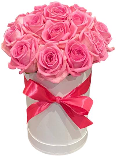 Róże w pudełku dostawa kwiaty w pudełku na urodziny, florystyczna poczta, kwiatowa dostawa Szczecin