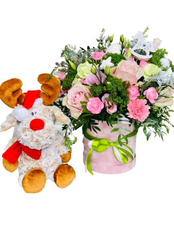 Flower Box Renifer, kwiaty na święta Bożego Narodzenia, florystyczna poczta, kwiatowa poczta Białystok, świąteczne dekoracje na Boże Narodzenie